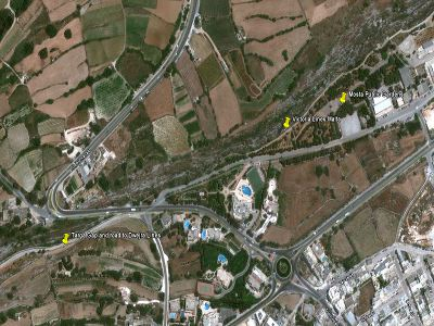 map targa gap mosta public gardens  walking hiking trekking hike route path Victoria Lines Malta