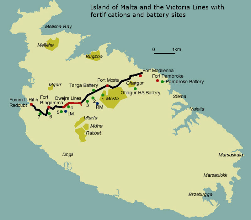Victoria Lines Malta map, walk and photographs guide to the ...