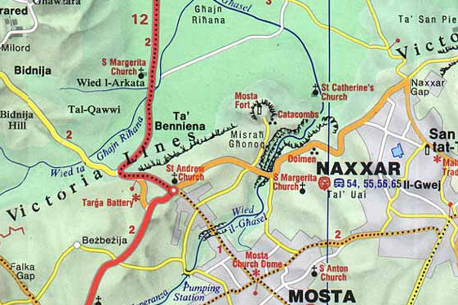 Map guide and walk route along the Victoria Lines Malta including photos