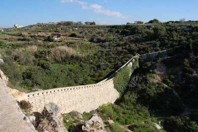 The Bingemma Gap defensive bridge along the Victoria Lines Malta at the end of the Dwejra Lines