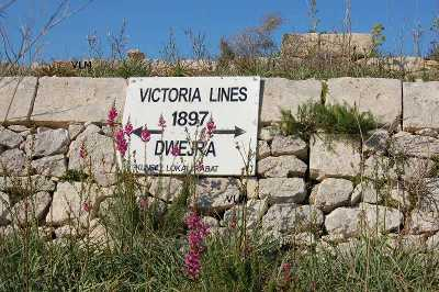 Victoria Lines Malta the Dwejra section finished for Queen Victorias Jubilee celebtration in 1897