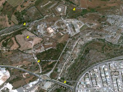 Victoria Lines Malta fort mosta walking route location map