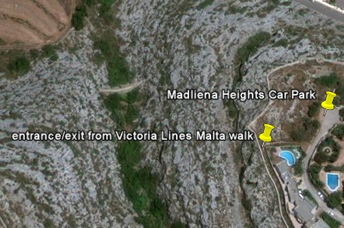 Victoria Lines Malta start finish Madliena heights walk route trek trekking hiking walking plan