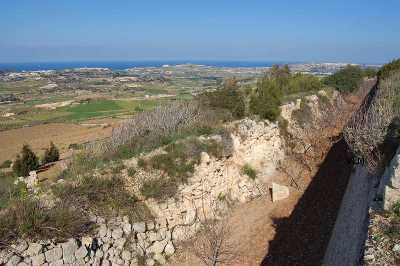 the Dwerja Lines Malta give a scenic view for photographs showing the British built wall